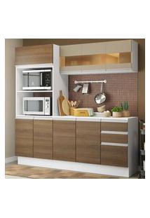 Cozinha Compacta 100% Mdf Madesa Smart 190 Cm Com Armário, Balcáo E Tampo Branco