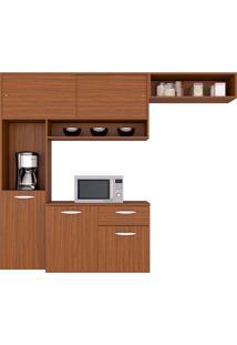 Cozinha Compacta Suspensa C/ Balcão Thais-Poquema - Capuccino