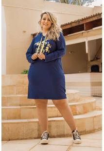 Vestido Fernanda Silk Marinho Plus Size