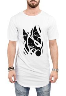 Camiseta Criativa Urbana Long Line Oversized A Face Da Mulher Tribal - Masculino