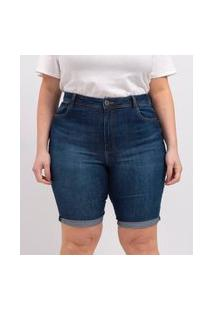 Bermuda Jeans Com Barra Dobrada Curve E Plus Size Azul