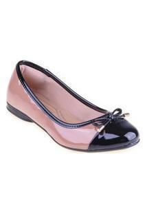 Sapatilha Shop Shop Shoes Biqueira Laço Cor:Begetamanho:37 Bege