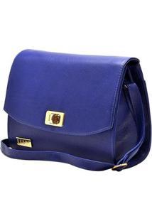 Bolsa Hendy Bag Couro Bic Menor Com Tampa E Alça Transversal - Feminino-Azul