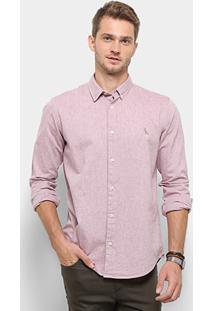 Camisa Manga Longa Reserva Regular Oxford Masculina - Masculino-Azul+Preto