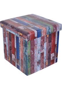 Puff Baú Quadrado Com Tampa Estampa Old Wood