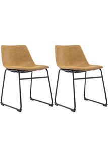 Kit 02 Cadeiras Decorativa Sala De Estar Recepção Fixa Maia Pu Caramelo - Gran Belo
