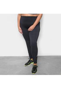 Calça Legging Plus Size Nike One Feminina - Feminino-Preto+Branco