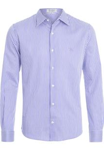 Camisa Masculina - Roxo E Branco