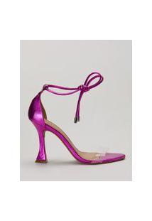 Amaro Feminino Sandália Salto Taça Vinil E Amarração, Rosa Metalizado