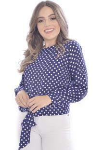 Blusa Mania De Sophia Laço Poá Azul Marinho