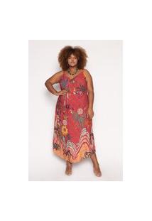 Vestido Almaria Plus Size Kayla Porto Estampado Vinho