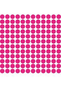 Adesivo De Parede Bolinhas Rosa Pink 144Un - Tricae