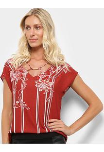 Blusa Dimy Floral Listras Detalhe Metal Feminina - Feminino-Vinho