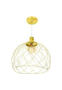 Lustre Pendente Esfera Aramado Dourado 47Cm