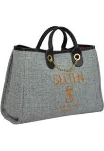 Bolsa Selten Handbag Grande Alça Fixa Botão Magnético Feminina - Feminino-Cinza Claro