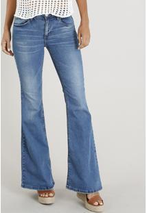 Calça Jeans Feminina Flare Com Bolsos Azul Médio