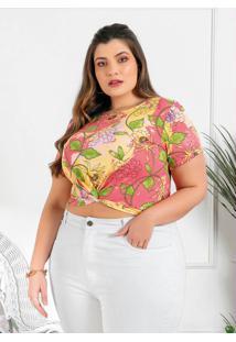 Blusa Plus Size Floral Barra Com Torção
