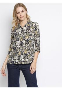 Camisa Texturizada Floral- Azul Marinho & Amarela- Iintens