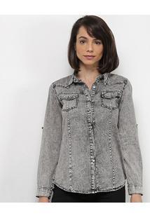 Camisa Jeans Extin Feminina - Feminino-Cinza