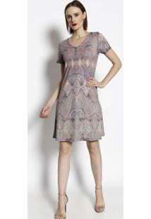 Vestido De Arabescos - Vinho & Amarelo- Cotton Colorcotton Colors Extra