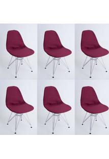 Kit Com 06 Capas Para Cadeira Charles Eames Eiffel Wood Vinho