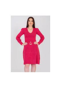 Vestido Midi Rarah Tricot Camponesa Rosa