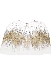 Oscar De La Renta Sequin Embellished Sheer Capelet - Dourado