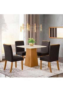 Conjunto De Mesa Com 4 Cadeiras Para Sala De Jantar Holanda-Henn - Nature / Off White / Marrom