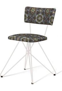 Cadeira Pop Estampa Floral Up Base Estrela Branca - 49581 - Sun House