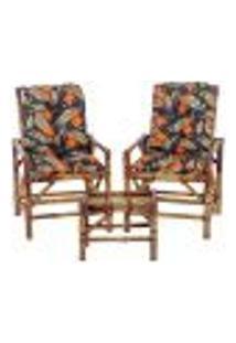 Conjunto Mesa E 2 Cadeiras De Bambu Cancun Para Área Edicula Jardim G36