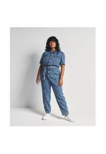 Macacão Longo Jeans Com Manga Curta Bufante E Cinto Curve & Plus Size | Ashua Curve E Plus Size | Azul | 46