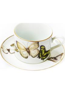 Conjunto De Xícaras Para Chá C/ Pires Porcelana Schmidt 06 Peças - Dec. Borboletas