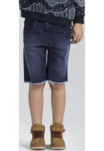 Bermuda Jeans Masculina Com Barra Desfiada Puc