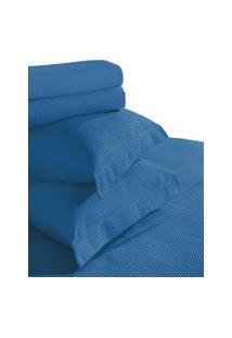 Kit Colcha Queen E Porta Travesseiro Teka Gênova Azul 100% Algodáo