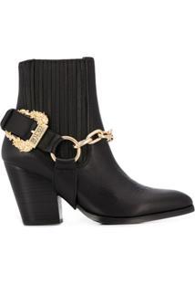 Versace Jeans Couture Ankle Boot Com Aplicação De Fivela - Preto
