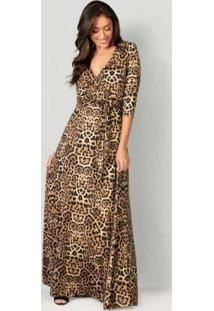 Vestido Decote Transpassado Animal Print Marrom