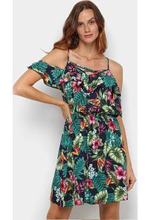Vestido Curto Pérola Evasê Open Shoulder Tropical - Feminino-Marinho+Verde