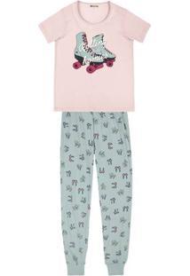 Pijama Em Malha De Algodão Com Estampa Localizada E Calça Estampada