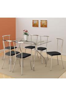 Mesa 387 Vidro Incolor Cromada Com 6 Cadeiras 154 Preta Carraro