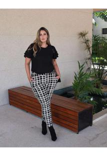Calça Skinny Almaria Plus Size Enois Xadrez Branco