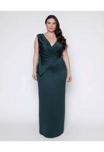 Vestido Almaria Plus Size Pianeta Longa Acetinado