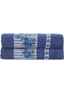 Toalha De Rosto Claris- Azul Marinho & Branca- 45X70Camesa