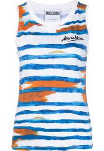 Moschino Blusa Sem Mangas Com Logo De Assinatura - Azul
