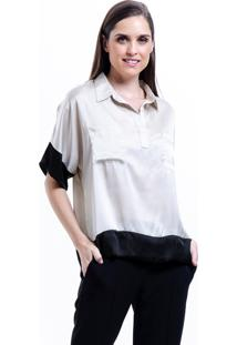 Camisa 101 Resort Wear Polo Bicolor Bege Preto