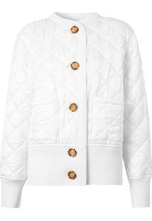 Burberry Jaqueta Matelassê Com Logo - Branco