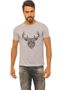 Camiseta Masculina Joss Premium New Cervo Etnico Mescla Cinza