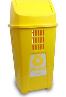Lixeira Para Coleta Seletiva 50L Plasvale Amarelo