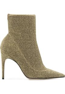 Sergio Rossi Ankle Boot De Couro - Metálico