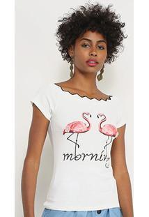 Blusa Lily Fashion Flamingos Feminina - Feminino-Branco