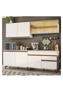 Cozinha Completa Madesa Reims 240001 Com Armário E Balcão Branco Cor:Branco